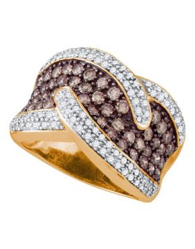 10kt Rose Gold Womens Round Cognac-brown Color Enhanced Diamond Cocktail Ring 2.00 Cttw