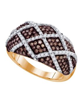 10kt Rose Gold Womens Round Cognac-brown Color Enhanced Diamond Striped Cocktail Ring 1-1/3 Cttw