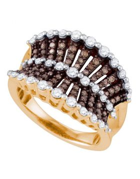 10kt Rose Gold Womens Round Brown Color Enhanced Diamond Concave Fashion Ring 1.00 Cttw