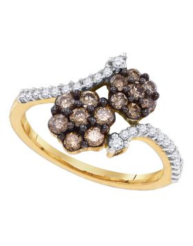 10kt Yellow Gold Womens Round Cognac-brown Color Enhanced Diamond Cluster Ring 7/8 Cttw