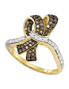 10kt Yellow Gold Womens Round Brown Color Enhanced Diamond Knot Bow Ring 1/2 Cttw