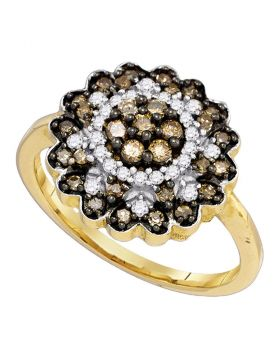 10kt Yellow Gold Womens Round Cognac-brown Color Enhanced Diamond Flower Cluster Ring 5/8 Cttw