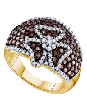 10kt Yellow Gold Womens Round Brown Color Enhanced Diamond Fashion Ring 1-1/2 Cttw