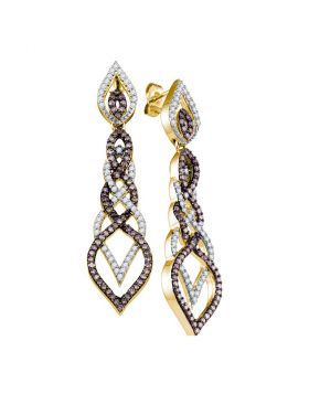 10kt Yellow Gold Womens Cognac-brown Color Enhanced Diamond Dangle Earrings 1-1/2 Cttw