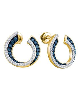 10kt Yellow Gold Womens Round Blue Color Enhanced Diamond Cluster Earrings 3/4 Cttw
