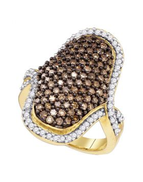 10kt Yellow Gold Womens Round Brown Color Enhanced Diamond Wide Cocktail Ring 1-3/4 Cttw