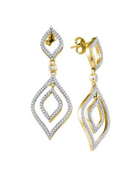 10kt Yellow Gold Womens Round Diamond Dangle Earrings 1-3/8 Cttw