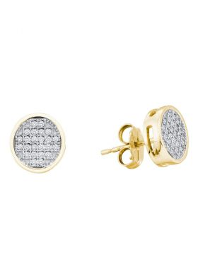 10kt Yellow Gold Womens Round Diamond Circle Cluster Earrings 1/6 Cttw