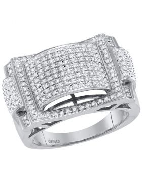 10KT WHITE GOLD ROUND PAVE-SET DIAMOND DOME CONVEX CLUSTER RING 5/8 CTTW