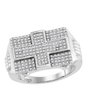 10KT WHITE GOLD ROUND DIAMOND RECTANGLE CROSS CLUSTER RING 5/8 CTTW