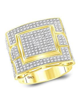 10KT YELLOW GOLD ROUND DIAMOND SQUARE CLUSTER RING 1.00 CTTW