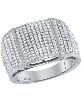10KT WHITE GOLD ROUND DIAMOND ARCHED CLUSTER RING 3/4 CTTW