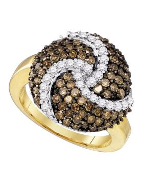 10kt Yellow Gold Womens Round Cognac-brown Color Enhanced Diamond Swirl Cluster Ring 1-5/8 Cttw