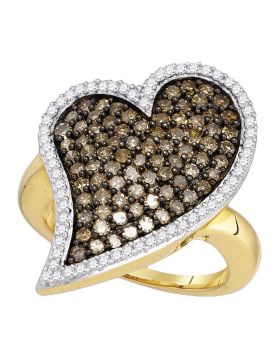 10kt Yellow Gold Womens Round Cognac-brown Color Enhanced Diamond Heart Love Cluster Ring 1-1/2 Cttw