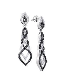 10kt White Gold Womens Round Black Color Enhanced Diamond Braided Dangle Earrings 1-1/2 Cttw