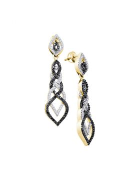 10kt Yellow Gold Womens Round Black Color Enhanced Diamond Braided Dangle Earrings 1-3/4 Cttw