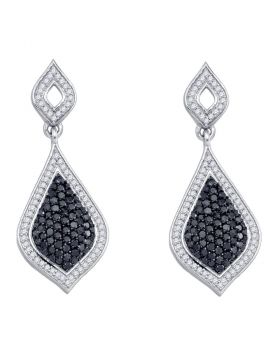 10kt White Gold Womens Round Black Color Enhanced Diamond Dangle Earrings 2.00 Cttw