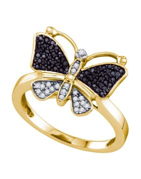 10kt Yellow Gold Womens Round Black Color Enhanced Diamond Butterfly Bug Ring 1/4 Cttw