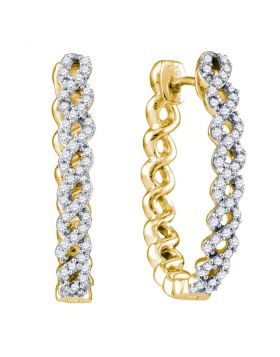 10kt Yellow Gold Womens Round Diamond Woven Hoop Earrings 1/2 Cttw