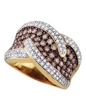 10kt Yellow Gold Womens Round Brown Color Enhanced Diamond Band Ring 2.00 Cttw