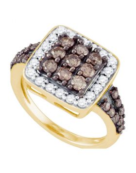 10kt Yellow Gold Womens Round Cognac-brown Color Enhanced Diamond Square Cluster Ring 1-5/8 Cttw