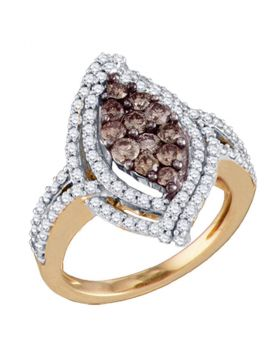 10kt Rose Gold Womens Round Cognac-brown Color Enhanced Diamond Wide Cluster Ring 1-1/2 Cttw