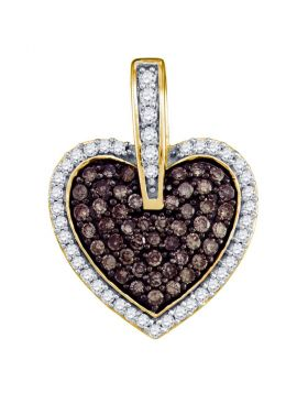 10kt Yellow Gold Womens Round Cognac-brown Color Enhanced Diamond Heart Pendant 1/2 Cttw