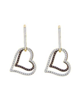 10kt Yellow Gold Womens Cognac-brown Color Enhanced Diamond Dangle Double Heart Earrings 1/2 Cttw