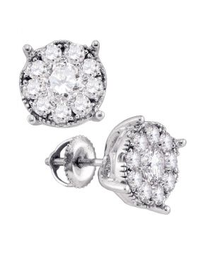 14kt White Gold Womens Round Diamond Cluster Earrings 1/3 Cttw