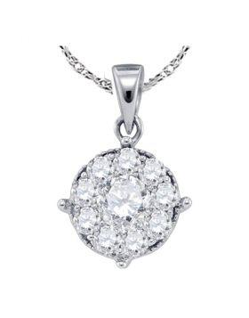 14kt White Gold Womens Round Diamond Cluster Pendant 1/4 Cttw