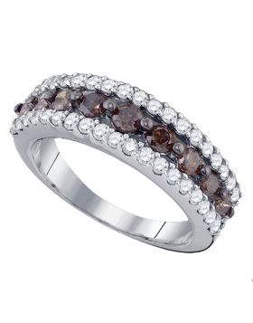 10kt White Gold Womens Round Cognac-brown Color Enhanced Diamond Band Ring 1-1/2 Cttw