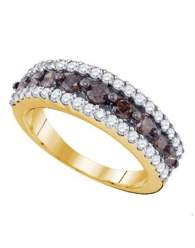 10kt Yellow Gold Womens Round Cognac-brown Color Enhanced Diamond Band Ring 1-1/2 Cttw