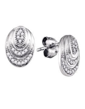 10kt White Gold Womens Round Diamond Oval Stud Earrings 1/8 Cttw