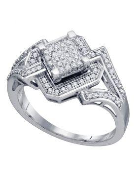 10kt White Gold Womens Round Diamond Diagonal Square Frame Cluster Ring 1/3 Cttw