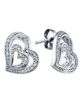 Sterling Silver Womens Round Diamond Heart Stud Earrings 1/20 Cttw