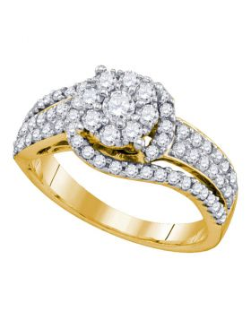 10kt Yellow Gold Womens Round Diamond Flower Cluster Ring 7/8 Cttw