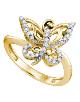 10kt Yellow Gold Womens Round Diamond Butterfly Bug Ring 1/5 Cttw