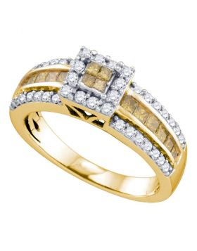 14kt Yellow Gold Womens Round Yellow Color Enhanced Diamond Square Cluster Ring 7/8 Cttw