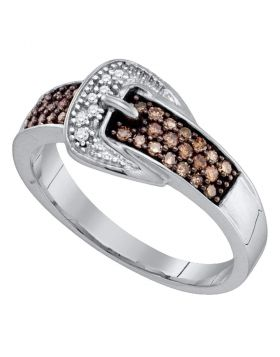 10kt White Gold Womens Round Cognac-brown Color Enhanced Belt Buckle Diamond Band Ring 1/4 Cttw