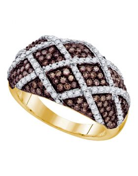 10kt Yellow Gold Womens Round Cognac-brown Color Enhanced Diamond Lattice Ring 1-1/3 Cttw