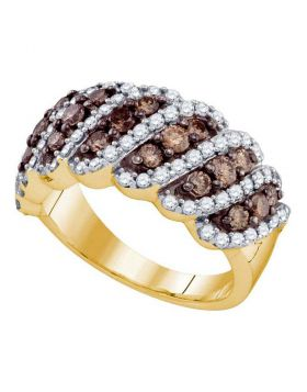 10kt Yellow Gold Womens Round Cognac-brown Color Enhanced Diamond Striped Band Ring 1-1/2 Cttw