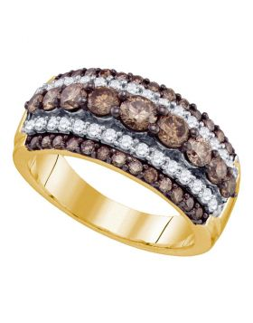 10kt Yellow Gold Womens Round Cognac-brown Color Enhanced Diamond Striped Cocktail Ring 1-1/2 Cttw