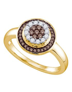 10kt Yellow Gold Womens Round Cognac-brown Color Enhanced Diamond Cluster Ring 1/3 Cttw