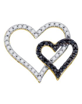 10kt Yellow Gold Womens Round Black Color Enhanced Diamond Double Heart Pendant 1/2 Cttw