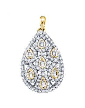 10kt Yellow Gold Womens Round Diamond Teardrop Cluster Pendant 7/8 Cttw
