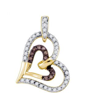 10kt Yellow Gold Womens Round Cognac-brown Color Enhanced Diamond Heart Love Pendant 1/3 Cttw