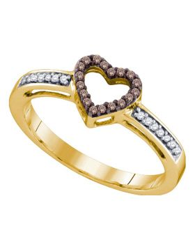10kt Yellow Gold Womens Round Cognac-brown Color Enhanced Diamond Heart Love Ring 1/10 Cttw
