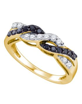 10kt Yellow Gold Womens Round Black Color Enhanced Diamond Crossover Band Ring 1/2 Cttw