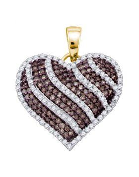 10kt Yellow Gold Womens Round Cognac-brown Color Enhanced Diamond Striped Heart Pendant 1.00 Cttw
