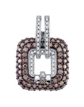 10kt White Gold Womens Round Cognac-brown Color Enhanced Diamond Square Pendant 2-1/4 Cttw